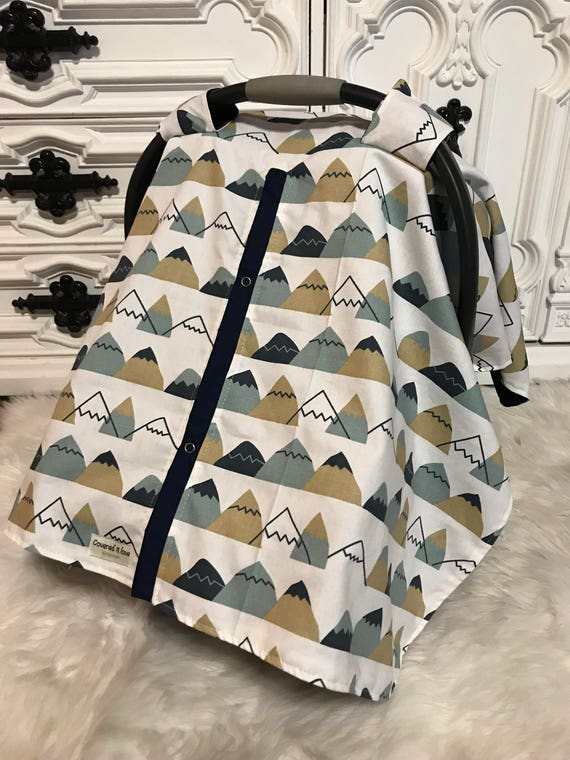 finished and ready to ship , mountains , car seat canopy , car seat cover