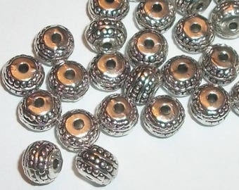 Antique silver pewter 7x5mm dot carved round rondelle spacer beads -- 50 pieces  (70980)