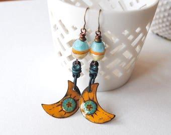 SALE Yellow Crescent Earrings, Crescent Moon Earrings, Boho Gypsy Earrings, Artisan Enamel Earrings, Earthy Earrings, Copper Emanel Earrings