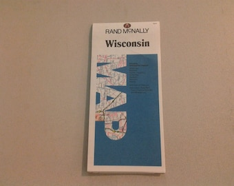 1988 Rand McNally Wisconsin map from a library no sign of use