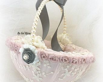 Flower Girl Basket, Ivory, Rose, Gray, Dark Gray, Crystals, Lace Basket, Elegant Wedding, Vintage Style, Pearl Handle, Round Basket, Gatsby