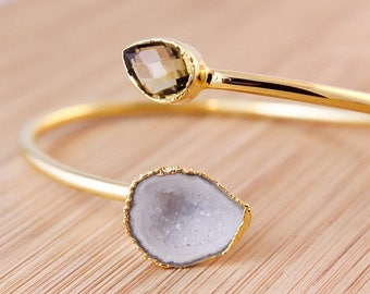 ON SALE Gold Champagne Citrine and White Geode Bangle - Dual Stone Bangle - Adjustable Bangle