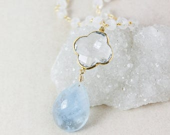 ON SALE Aquamarine Teardrop Necklace – Crystal Quartz Clover – Rainbow Moonstone Chain