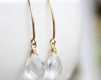 ON SALE Gold Crystal Quartz Gemstone Earrings - Wire Wrapped - 14KT Gold Fill
