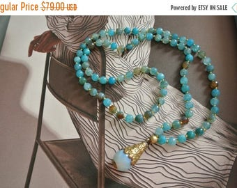 CLEARANCE SALE 80% OFF Aqua Bohemian Beaded Hand Knotted Beaded Necklace,  Quartz Drop, Chic Layering Necklace, Celebrity Style