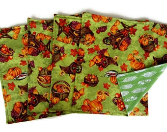Cloth Napkins, Thanksgiving Napkins , 12 X 12, Cotton, Set of 4,  Dinner Napkins, Reversible, Autumn Napkins, Reusable, Green and Orange