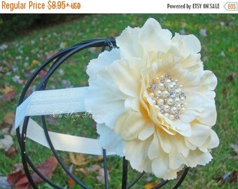 Ivory Flower Headband, Ivory Flower w/ Pearls & Crystals Headband or Hair Clip, The Eva, Baptism, Christening, Baby Child Girls Headband