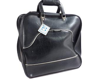 Black Brunswick Bowling Bag with Silver Lame Pin Stripe Vintage 1980s Rockabilly Bowling Ball Bag