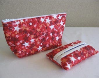 Red Stars Quilted Pouch Set