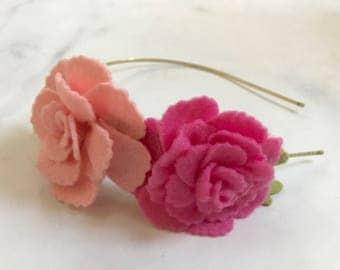 Beautiful Pink Rose Flower Headband//Adjustable Metal or Elastic Band//Women and Girls//Romantic Bridesmaid Wedding Hair Piece//Customizable