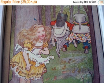 ON SALE Tweedledee Dum Alice in Wonderland - Through the Looking Glass - Lewis Carroll - M.L. Kirk ill - 1905 color lithograph framable plat