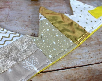 Festive Patchwork Fabric Crown in gold