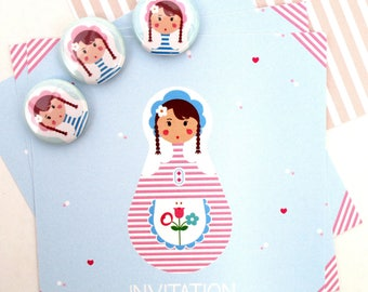 invitation birthday girl - Russian doll / matryoshka + badge