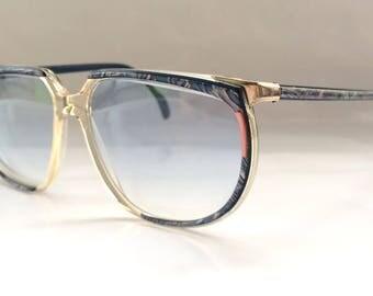 80s Vintage German Metzler Art Deco Blue Womens Sunglasses