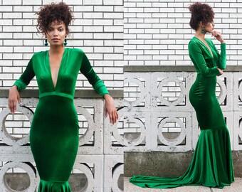 Serpentina Green Velvet Plunge Neck Mermaid Gown