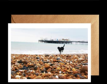 Brighton Beach Greetings Card, Brighton Card, Brighton Beach Photography, Brighton Art, Brighton Photo, Brighton Pier, English Beach Card