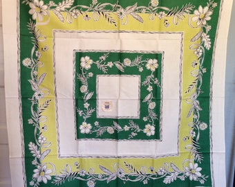 "NOS Vintage Printed Tablecloth And 4 Napkins Set  Lustreprints Lustre Prints 52""x52"" Chartreuse Green Black White 40ss 1940s"