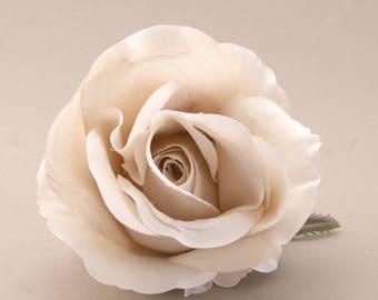 Deluxe Taupe Rose Head- Bridal Flower - Artificial Flower, Silk Flower Heads