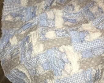 Baby Blanket, Baby Boy Blanket, Baby Boy Quilt, Flannel Baby Boy Rag Quilt, Rag Blanket