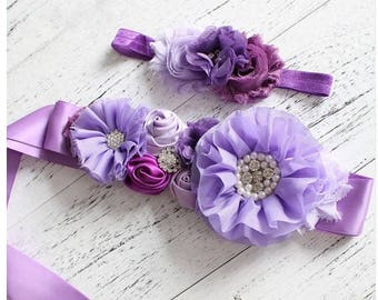Women child baby satin Rhinestone flowers pearls wedding dress flower girl comunion birthday baptism sash belt purple lavender and headband