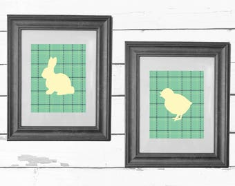 Bunny and Peep Tweed Printable Art Prints / Nursery Decor / Easter Decor / Baby Shower / Home Decor / INSTANT DOWNLOAD