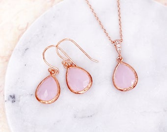 Ice Pink Teardrop Earrings   Rose Gold   Simple Bridesmaid Bridal Wedding Jewerly Gifts   Something blue for her   GlitzAndLove