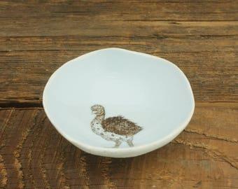 Ostrich Woodgrain Dish by SKT Ceramics. Hand built porcelain dish, jewelry dish, olive oil dish, tapas dish by SKT Ceramics
