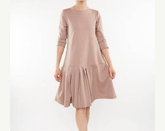 SALE - Unique dress | Flared dress | Light pink dress | LeMuse unique dress