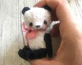 3 inch Artist Handmade Miniature Pocket Sized Teddy Panda by Sasha Pokrass