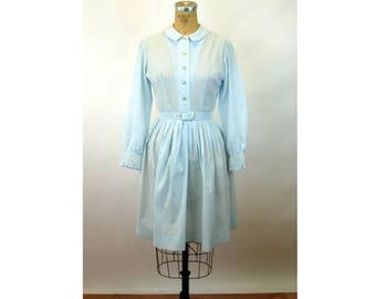 1960s shirtwaist dress light blue smocked pleated long sleeved dress by ShirtMaster Size M