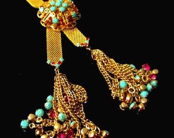 Vintage Hattie Carnegie Filigree Lariat Necklace Mesh Tassel Juliana D & E Cranberry Pink Crystal Turquoise Jewels