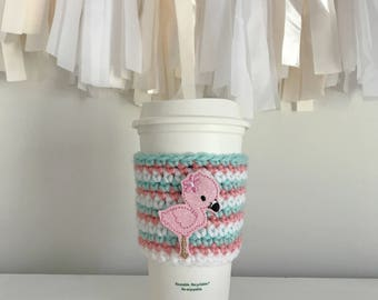 Pink flamingo coffee mug, cup cozy, crochet cup cozy, starbucks coffee sleeve, cup holder, starbucks coffee kozie, gift for her