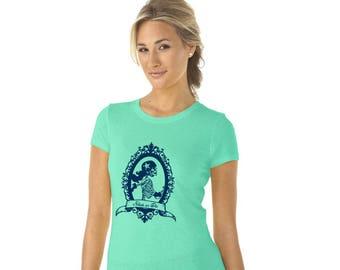 Roller Derby Shirt, Skeleton Skater Graphic Tee Shirt, Gift For Roller Skater Skate or Die Tshirt Short Sleeved cotton crewneck Hand Printed