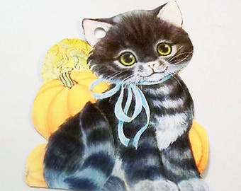 Halloween Cat - Gift Tags - Set of 4 - Tiger Cat Tags - Pumpkin Tags - Retro Halloween - Treat Bag Topper - Black And Orange - Cat Shape Tag