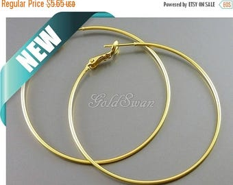 10% SALE 4 pcs / 2 pairs large 50mm matte gold plain ring simple hoop earrings, gold hoops 983-MG-50