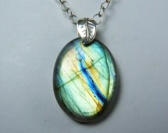 Labradorite Necklace, Super Flashy Labradorite Pendant, Iridescent Apple Green, Turquoise, Coppery Orange, and Blue Flash, Sterling Silver
