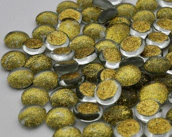 Glass Glittered Gems - Sparkly Gold - Nuggets - Golden - Set of 30