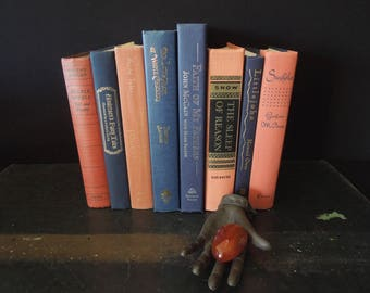 Coral Navy Blue Hardcover Book Stack - Decorative Vintage Books by Color - Books for Decor - Instant Library