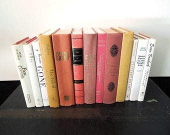 Books by Color - Coral, Cream, Yellow, White Books for Decor - Bookshelf Decor - Den Office Elegant Library Vintage
