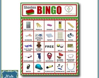 Digital Shoebox Packing Party Bingo