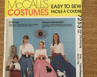 Sewing Pattern McCalls 7253 Kids Adult Rockabilly Poodle Skirts