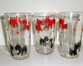 Vintage Scotty Dogs Glasses - Set of Three - Tumblers - 1950's