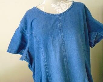 Roaman's Denim Dress 100% Cotton Size 22W  Vintage