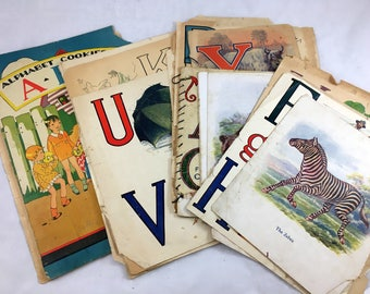 Vintage Alphabet Ephemera Set. 30+ Children's Book Pages. 1920s ABC Themed Art. Children Ephemera, School, Educational Pgs for Crafts, Frame