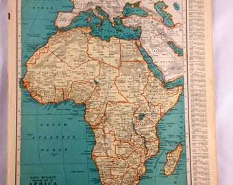 Old Map Of Africa Etsy - Vintage map of egypt