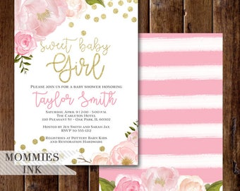 Sweet Baby Girl Invitation, Baby Shower Invitation, Light Pink and Gold Stripe Baby Shower Invitation, Peony Rose Invitation, Gold Confetti