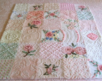 "Custom Ordered Vintage Chenille Baby or Lap Quilt - "" Girly Girl"" -  Heirloom quality handmade vintage chenille baby quilt."