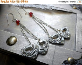 Antique Shoe Buckle Earrings. Fancy Glass Rhinestone Buckles. Upcycled Salvaged. Red Glass. Reclaimed. Unique Wearable Art. Handmade OOAK