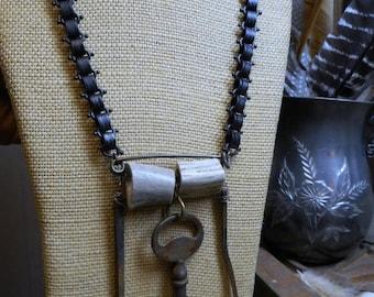 SaLe The Blacksmith's Workshop of Antler Hill Village. Antique Skeleton key, Blacksmith Naisl & Genuine Deer Antler Necklace Gothic Bookchai