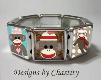Sock Monkey Stretch Bracelet Sockmonkey Fun